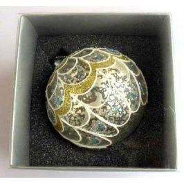Украшение елочное шар ПАВЛИН, паутинка серебряная, 1 шт., 8 см, стекло