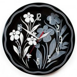 Часы Вега П1-674/6-304 Черно-белые ромашки