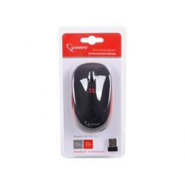 Мышь беспроводная Gembird MUSW-215R, soft touch, черн/красн, 3кн.+колесо-кнопка, 2.4ГГц, 1600 dpi