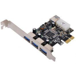 Контроллер PCI-E to USB3.0 Orient VA-3U31PE 4-х портовый хост-адаптер для шины PCI Express (3 ext+ 1 int), доп.разъём питания, VIA, ret