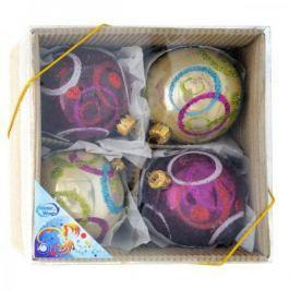 Набор шаров ЖЕМЧУЖНЫХ разноцветных, 4 шт. в картонной коробке, 7 см, 2 цв.