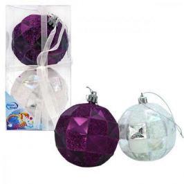 Набор шаров ГРАНИ, блестящих с блестящей крошкой, 8 см, 2 шт. в прозрачной коробке, 2 цв., серебряны