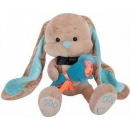 Мягкая игрушка заяц Jack Lin Зайчик Жак с букетом 25 см бежевый плюш искусственный мех пластик JL-01