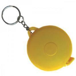 Брелок-рулетка, пластик, желтый, круглый