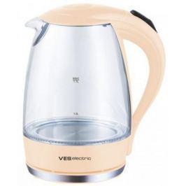 Чайник VES Electric VES2006-N 2200 Вт бежевый 1.7 л пластик/стекло