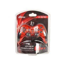 Геймпад RITMIX GP-007 Red для ПК, USB, 2 вибромотора, 19 кнопок, кабель 1,5м