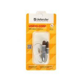 USB кабель USB10-03BP белый, MicroUSB + Lightning,1м