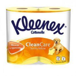 Бумага туалетная Kleenex Clean Care Sunny Yellow 4 шт 2-ух слойная растворяются в воде 9450024