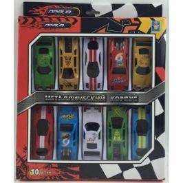 1toy Драйв, металлическая машинка, гоночная, фривил, 8см, набор 10 шт, коробка