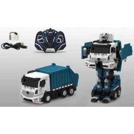 1toy робот на р/у, трансформируется в мусоровоз, со светом и звуком, 38см, коробка