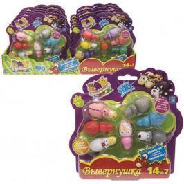 1toy игрушка Вывернушка 2в1(6*2*2,5 см.) пластик, 101вид,7 шт.в блистере (20,5*21*3,5 см.),10 блисте