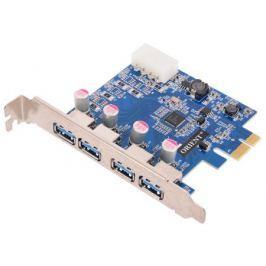 Контроллер ORIENT NC-3U4PE, PCI-E USB 3.0 4ext port, NEC D720201 chipset, разъем доп.питания, oem