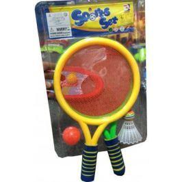 1toy набор для игры с мячом, 2 ракетки с сеткой, волан, мячик, блистер