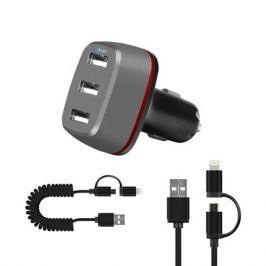 Автомобильное зарядное устройство (3 USB, 5.1A, Smart Charge+кабель 8pin/micro USB-USB) DF AutoTor-05