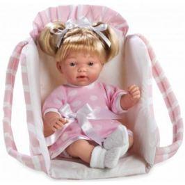 Arias ELEGANCE мягк кукла 28 см. со звук. эфф. смех (3хLR44/AG13), с соской, в переносном розовом кр