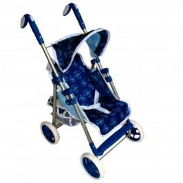 Коляска для кукол 1Toy премиум, мет.каркас, 53,5х34х68см, синяя с бантиками