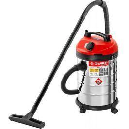 Промышленный пылесос Зубр ПУ-30-1400 М3 сухая влажная уборка красный серебристый