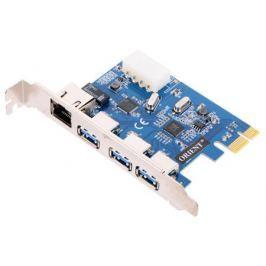 Контроллер ORIENT VA-3U3A88PE, PCI-E USB 3.0 3ext port + Gigabit Ethernet port (RJ45), VIA VL805 + ASIX AX88179 chipset, разъем доп.питания, oem