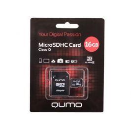 MicroSDHC QUMO 16Gb Class10 + Адаптер (QM16MICSDHC10)