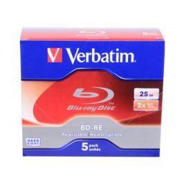 Диски BluRay BD-RE Verbatim 25Gb 2x JewelCase 5шт 43615/43614