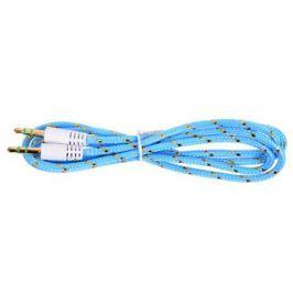 Кабель Belsis BL1108 (Jack 3.5 mm - Jack 3.5 mm, стерео,0,75 м, нейлоновый оплетке, голубой)