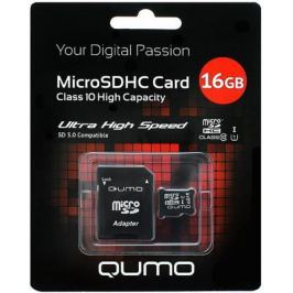 MicroSDHC QUMO 16Gb Class10 UHS-I + Адаптер (QM16GMICSDHC10U1)