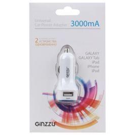Автомобильное зарядное устройство Ginzzu GA-4415UW, АЗУ 5В/3.0A, 2USB, белый