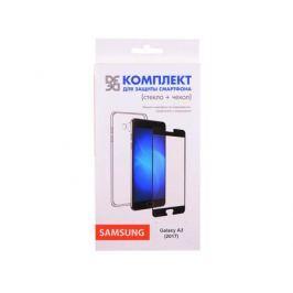 Закаленное стекло + чехол для смартфона Samsung Galaxy A3 (2017) DF sKit-08 (black)