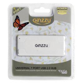 Концентратор USB 2.0 Ginzzu GR-415UW (7 портов, White)