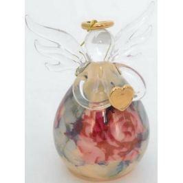 Украшение елочное АНГЕЛ с цветами, 1 шт, 11*9 см, в карт.кор, стекло