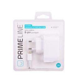 Сетевое зарядное устройство Prime Line 2316 2 USB, 2.1A, дата кабель 8-pin, белый