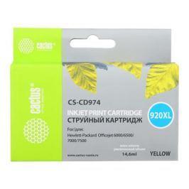 Картридж Cactus CS-CD974 №920XL для HP Officejet 6000/6500/7000/7500 желтый 14.6мл