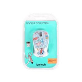 Мышь (910-005055) Logitech Wireless Mouse M238 Doodle Collection BAE-BEE BLUE