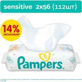 Влажные салфетки Pampers «Sensitive» с запасным блоком, 2х56 шт.