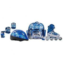 Набор: ролики, защита, шлем Ase-Sport ASE-617 «Combo» XS (26-29) Blue