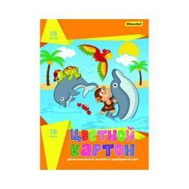Цветной картон Silwerhof «Дельфины» 10 цв. А4