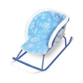 Сиденье для санок Ника СС2-2-Г меховое голубое со снежинками