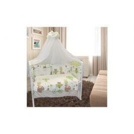 Комплект в кроватку Луняшки «Совы» 6 пр. зеленый