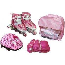 Набор: ролики, защита, шлем Ase-Sport ASE-198 «Combo» XS (28-31) Pink
