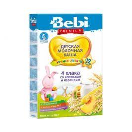 Каша молочная Bebi Premium «Учимся жевать» 4 злака со сливками и персиком с 12 мес. 200 г