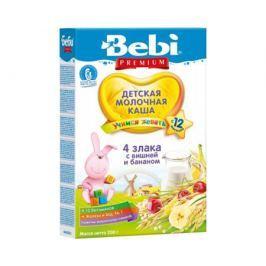 Каша молочная Bebi Premium «Учимся жевать» 4 злака с вишней и бананом с 12 мес. 200 г