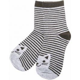 Носки для девочки Barkito, серые с рисунком в полоску