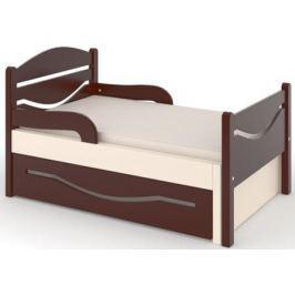 Кроватка Дом бука «Ростушка 2» 70 см с бортиками, ящиком и матрасом, венге/слоновая кость