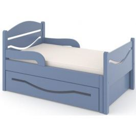 Кроватка Дом бука «Ростушка 2» 80 см с бортиками, ящиком и матрасом, голубой