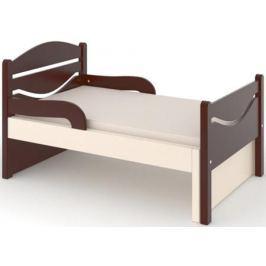 Кроватка Дом бука «Ростушка-Простушка» 80 см с бортиками и матрасом, венге/слоновая кость