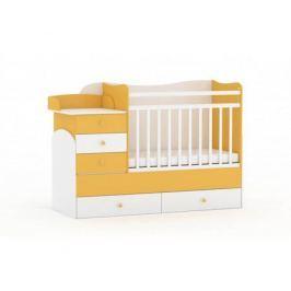 Кроватка-трансформер Фея 1400 комод, пеленальный столик, 2 ящика белый/солнечный