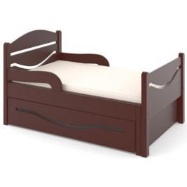 Кроватка Дом бука «Ростушка 2» 80 см с бортиками, ящиком и матрасом, венге