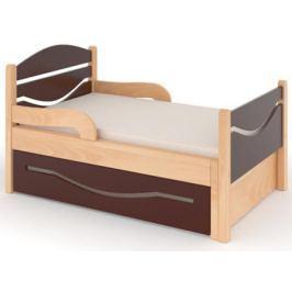 Кроватка Дом бука «Ростушка 2» 80 см с бортиками, ящиком и матрасом, венге/лакированный бук