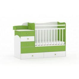 Кроватка-трансформер Фея 1400 комод, пеленальный столик, 2 ящика белый/лайм
