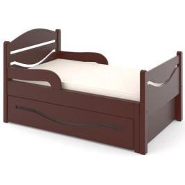 Кроватка Дом бука «Ростушка 2» 70 см с бортиками, ящиком и матрасом, венге